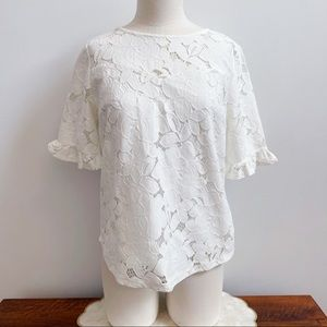 Monteau White Short Sleeve Floral Lace Lined Top M